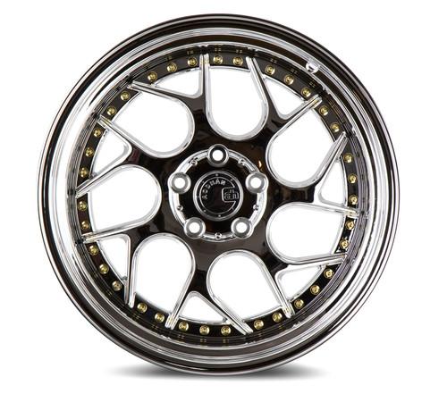 Aodhan Wheels Ds01 18x9.5 5x114.3 +15 Vacuum Chrome W/ Gold Rivets