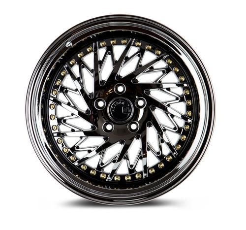 Aodhan Wheels Ds03 18x9.5 (Driver Side) 5x100 +35 Black Vacuum w/ Gold Rivets
