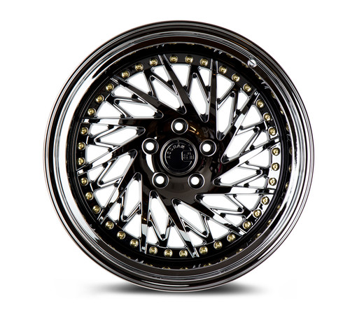 Aodhan Wheels Ds03 18x9.5 (Passanger Side) 5x100 +35 Black Vacuum w/ Gold Rivets