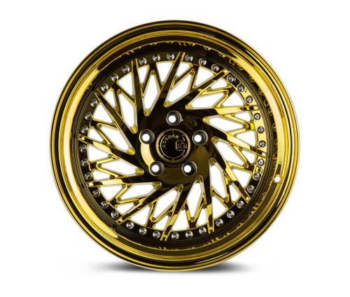 Aodhan Wheels Ds03 18x9.5 (Driver Side) 5x100 +35 Gold Vacuum w/ Chrome Rivets