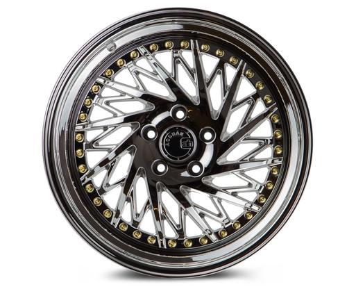 Aodhan Wheels Ds03 18x9.5 (Passanger Side) 5x100 +35 Vacuum Chrome w/Gold Rivets