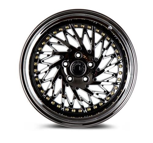 Aodhan Wheels Ds03 18x9.5 (Passanger Side) 5x114.3 +15 Black Vacuum w/ Gold Rivets