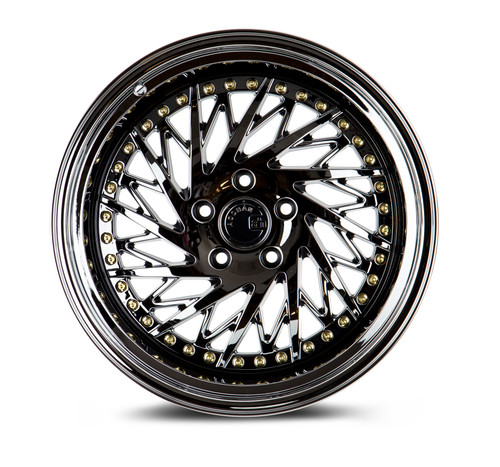 Aodhan Wheels Ds03 18x10.5 (Driver Side) 5x114.3 +22 Black Vacuum w/ Gold Rivets