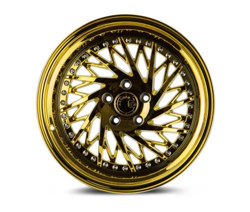 Aodhan Wheels Ds03 18x10.5 (Passanger Side) 5x114.3 +22 Gold Vacuum w/ Chrome Rivets