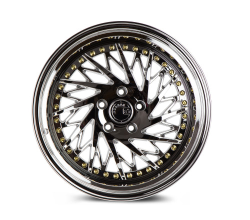 Aodhan Wheels Ds03 18x10.5 (Passanger Side) 5x114.3 +15 Vacuum Chrome w/Gold Rivets