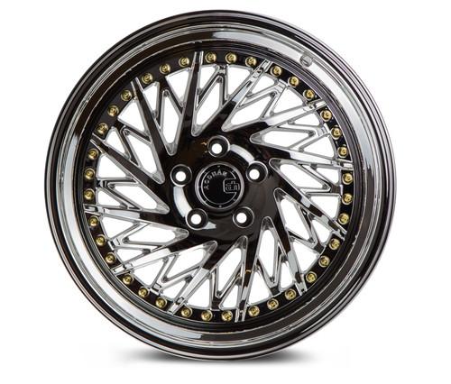 Aodhan Wheels Ds03 18x9.5 (Driver Side) 5x114.3 +22 Vacuum Chrome w/Gold Rivets