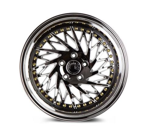 Aodhan Wheels Ds03 18x10.5 (Passanger Side) 5x114.3 +22 Vacuum Chrome w/Gold Rivets