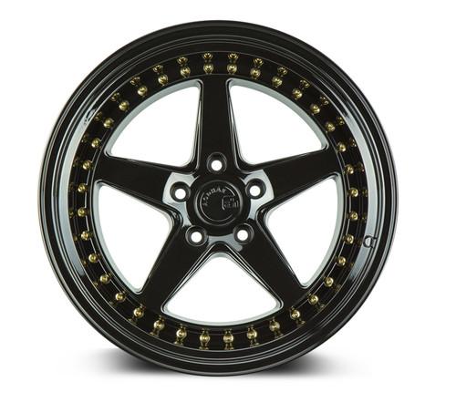 Aodhan Wheels Ds05 18x8.5 5x100 +35 Gloss Black W /Gold Rivets