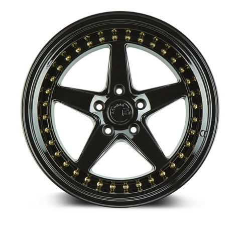 Aodhan Wheels Ds05 18x9.5 5x100 +35 Gloss Black W /Gold Rivets