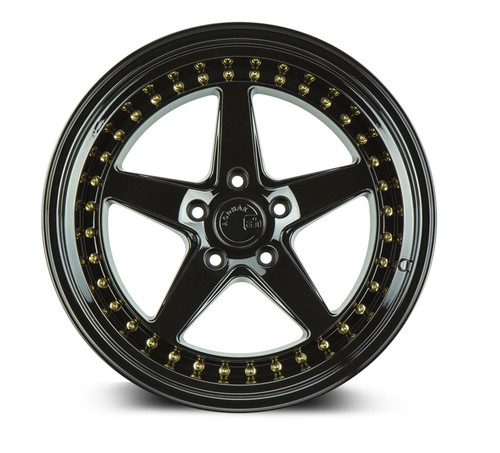 Aodhan Wheels Ds05 18x10.5 5x114.3 +22 Gloss Black W /Gold Rivets