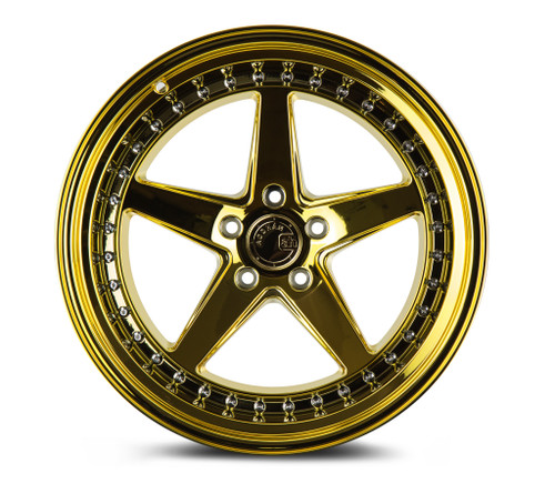 Aodhan Wheels Ds05 18x8.5 5x114.3 +35 Gold Vacuum w/ Chrome Rivets