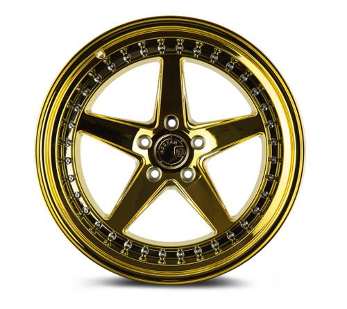 Aodhan Wheels Ds05 18x9.5 5x114.3 +22 Gold Vacuum w/ Chrome Rivets