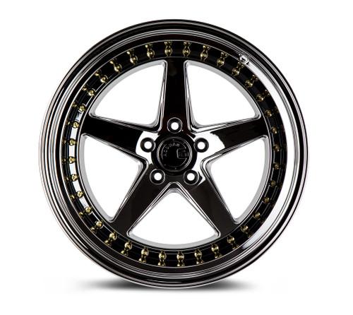 Aodhan Wheels Ds05 18x9.5 5x114.3 +22 Black Vacuum W /Gold Rivets