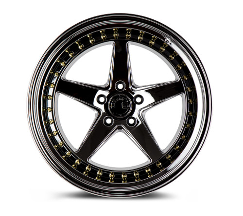 Aodhan Wheels Ds05 19x9.5 5x114.3 +22 Black Vacuum W /Gold Rivets