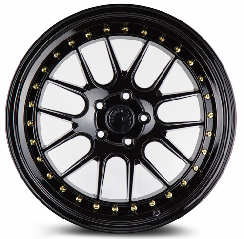Aodhan Wheels DS-06 18x9.5 5x114.3 +22 Gloss Black W /Gold Rivets