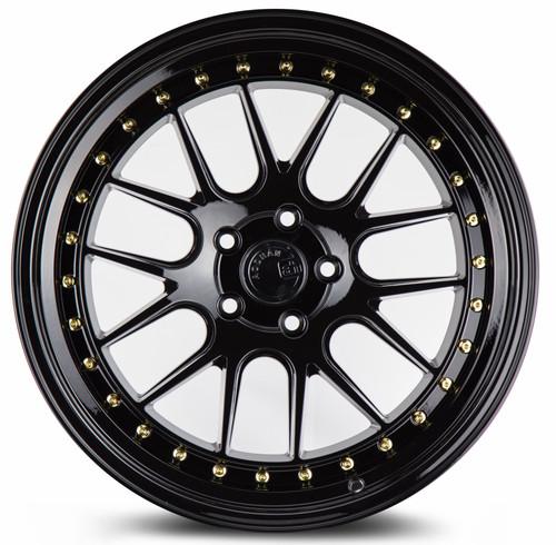 Aodhan Wheels DS-06 19x11 5x114.3 +22 Gloss Black W /Gold Rivets