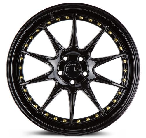 Aodhan Wheels DS-07 18x8.5 5x114.3 +35 Gloss Black W /Gold Rivets