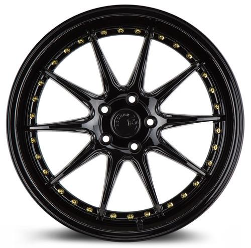 Aodhan Wheels DS-07 18x9.5 5x114.3 +22 Gloss Black W /Gold Rivets