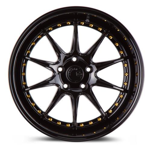 Aodhan Wheels DS-07 18x10.5 5x114.3 +22 Gloss Black W /Gold Rivets