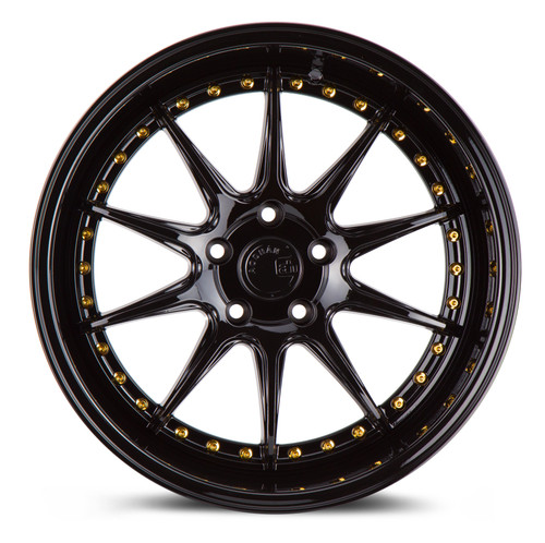 Aodhan Wheels DS-07 18x10.5 5x114.3 +15 Gloss Black W /Gold Rivets