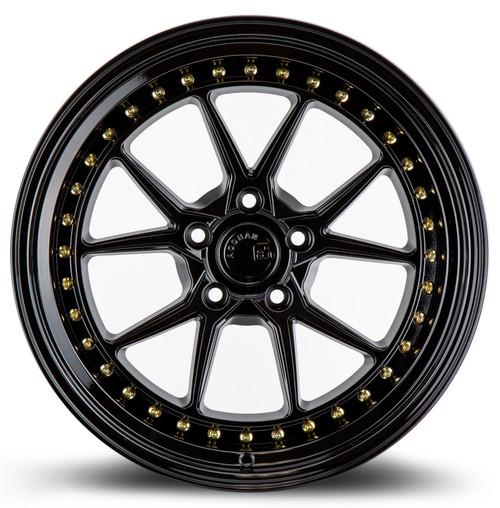 Aodhan Wheels DS08 18x9.5 5x114.3 +15 Gloss Black W /Gold Rivets
