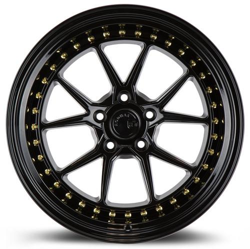 Aodhan Wheels DS08 18x10.5 5x114.3 +22 Gloss Black W /Gold Rivets
