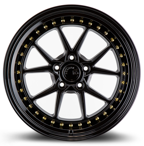 Aodhan Wheels DS08 19X9.5 5X114.3 +15 Gloss Black W /Gold Rivets