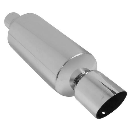 """DC Sports ROUND CANISTER MUFFLER, w/ 4"""" Slant ANGLE TIP for Universal Universal Universal"""