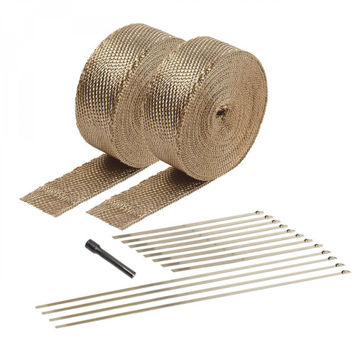 Design Engineering Tan Exhaust Wrap And Aluminum HT Coating (Clamshell Packaging)
