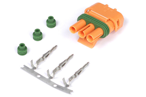 Haltech Plug and Pins Only - Delco Weather Pack 3 pin GM Style MAP Sensor Connector - Orange