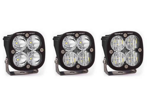 Squadron Sport Round Light Pods: (Each / Clear / Driving Combo Beam / Black Body)
