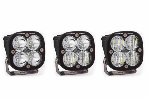 Squadron Sport Round Light Pods: (Each / Amber / Wide Cornering Beam / Black Body)