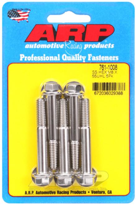 ARP M8 x 1.25 x 55 Hex SS Bolts (5/pkg)
