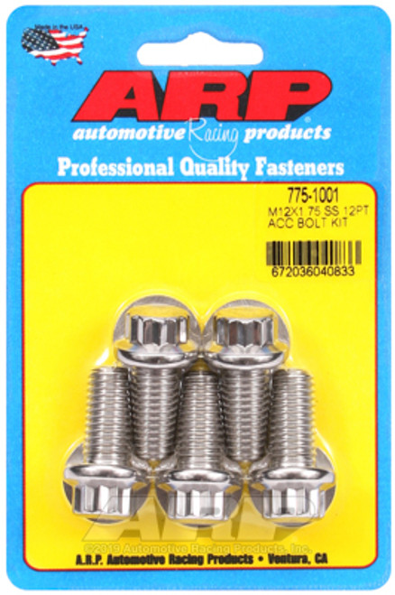 ARP M12 x 1.75 x 25mm 12pt Stainless Steel Bolts (Set of 5)