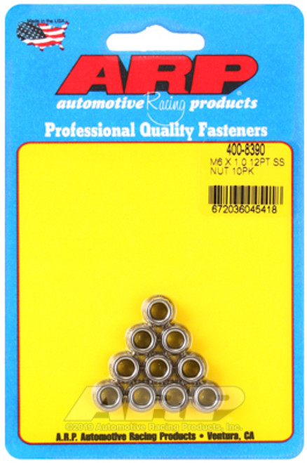 ARP M6 X 1.00 (M8 wr) Stainless Steel 12pt Nut Kit (Pack of 10)