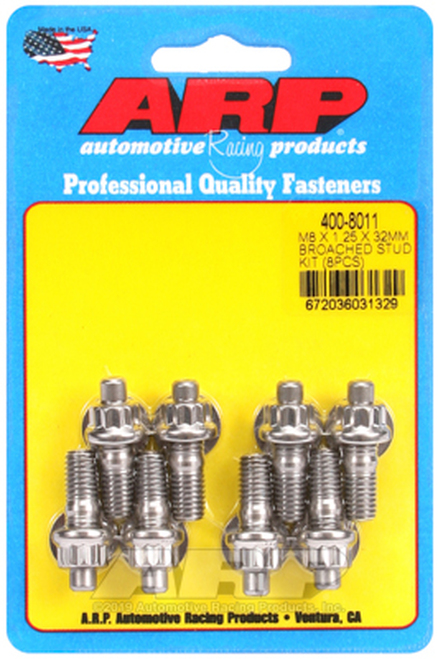 ARP Exhaust Manifold Bolts M8 x 1.25 x 32mm Broached 8 Piece Accessory Stud Kit