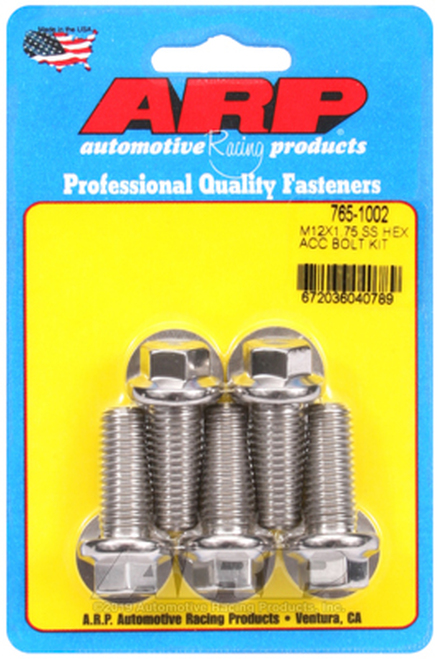 ARP M12 x 1.75 x 30 Hex Black SS Bolts (5/pkg)