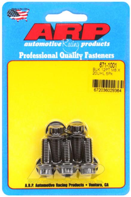 ARP M8 x 1.25 x 20mm 12pt Black Oxide Bolts (5/pkg)