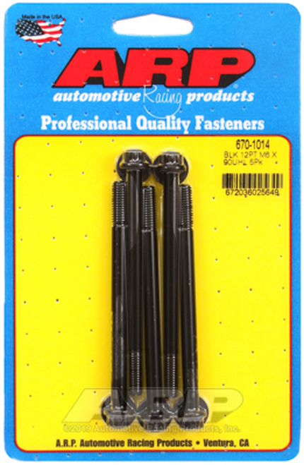 ARP M6 x 1.00 x 90 12pt Black Oxide Bolts (5/pkg)