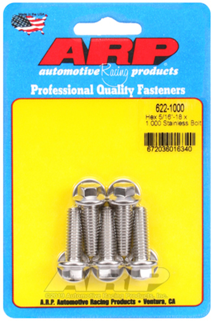 ARP 5/16in x 18 - 1in UHL SS Hex Bolt Kit (5/pkg)