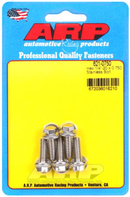 ARP 1/4in x 20 - .75in UHL Hex SS Bolt (5/pkg)