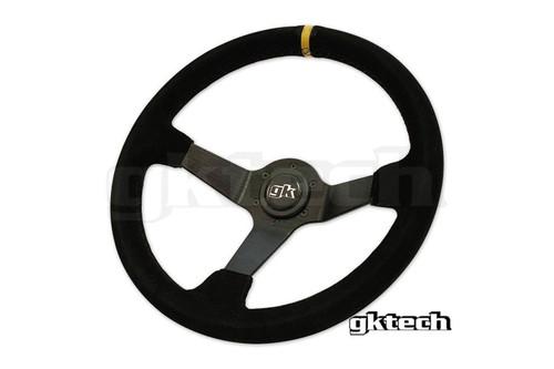 GKTech 350mm Deep Dish Suede Steering Wheel Yellow Stripe
