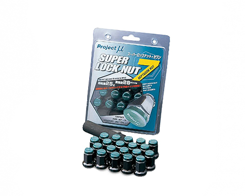 Project Mu Super Lock Nut 7 Type-M M12x1.25 Black / Green Cap (Special Order No Cancel)