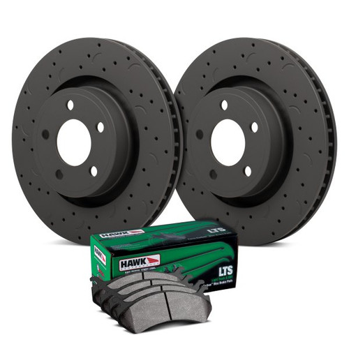 Hawk Talon LTS Drilled and Slotted Front Brake Kit with Light Truck SUV Pads - HKC4345.266Y