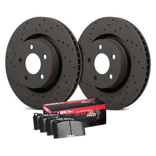 Hawk Talon HPS 5.0 Drilled and Slotted Rear Brake Kit with High Performance Street 5.0 Pads - HKC4393.323B