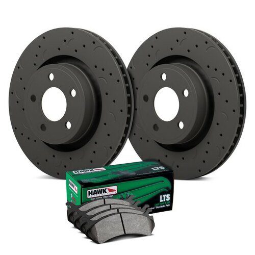 Hawk Talon LTS Drilled and Slotted Rear Brake Kit with Light Truck SUV Pads - HKC4397.383Y