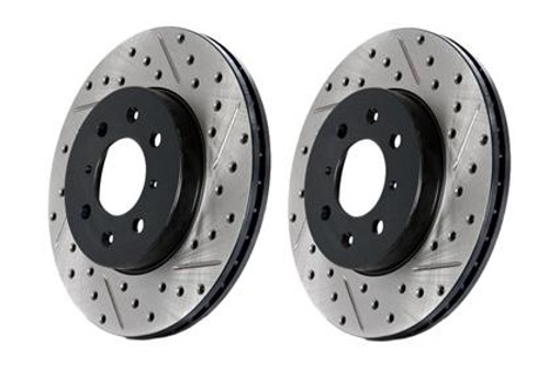 StopTech SportStop Slotted & Drilled Front Left CRYO Rotor for 14-16 Infiniti Q60