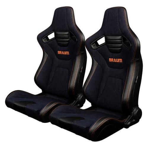 Braum Elite-X Series Sport Seats (Pair) - Navy Denim (Orange Stitching)