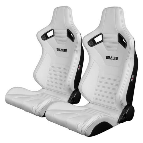 Braum Elite-X Series Sport Seats (Pair) - White Leatherette (Black Stitching)