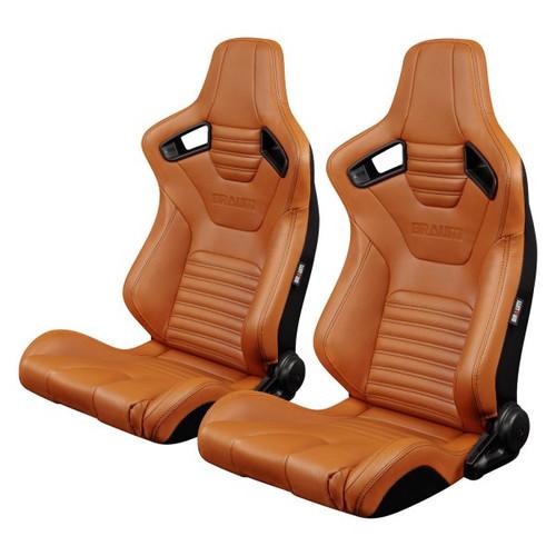 Braum Elite-X Series Sport Seats (Pair) - British Tan Leatherette (Black Stitching)